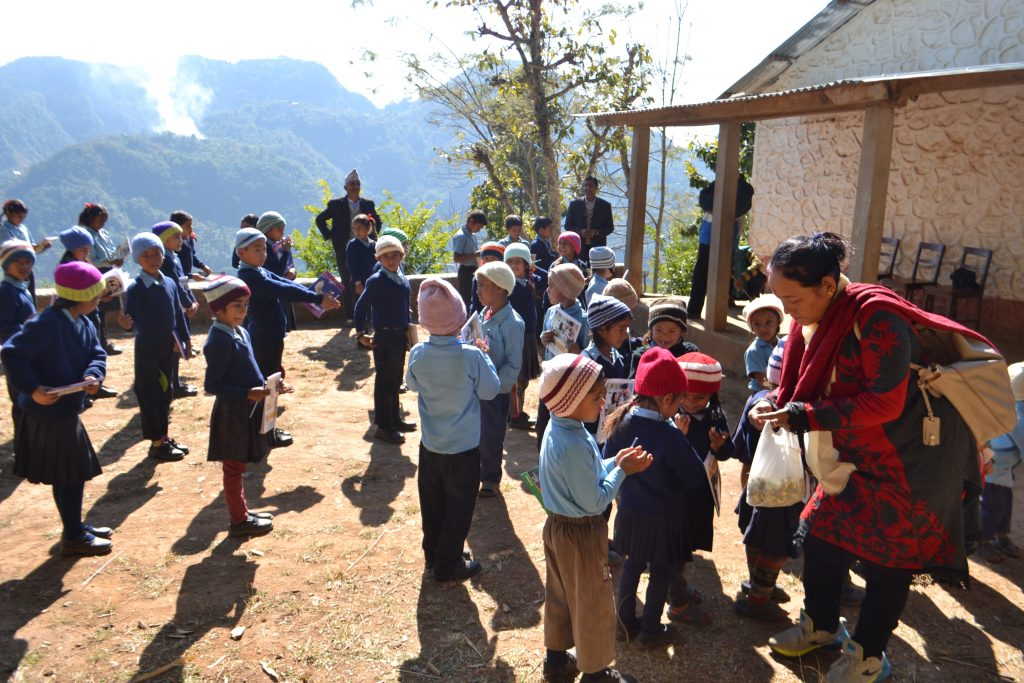 Children outside school in mountains of Nepal